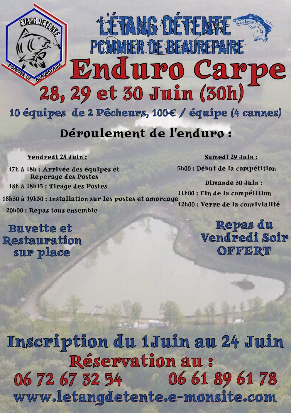 Enduro carpe 28 29 et 30 juin etang detente pommier de beaurepaire concours de peche a la carpe en isere 38